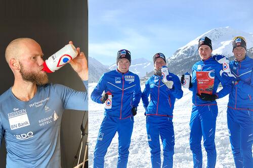 Fuel of Norway foretrekkes av mange langrennsløpere, blant disse Martin Johnsrud Sundby (tv) og langløperne i Team Koteng. Foto: Sondre Sondby og Team Koteng. Collage: Langrenn.com.