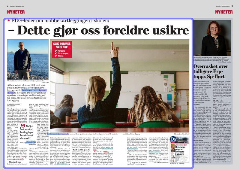 FAKSIMILE: Fra Dagsavisen 18. desember 2020. FUG-leder Marius Chramer sier at foreldre er usikre på undersøkelsene Spekter og Innblikk etter den siste tids debatt i media.