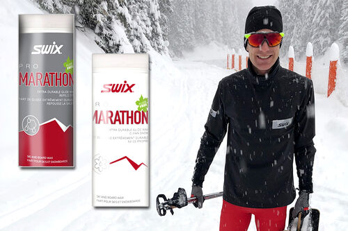 Morten Sætha fra Swix racing service reiser rundt i verden som smurningsmann i World Cup og  i mesterskap. Her er han med et par bokser Swix Marathon Glider i pulverform. Foto: Swix.