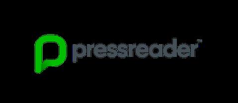 Logo i grønt for pressreader, en tjeneste for digitale aviser og tidsskrifter