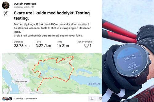 En økt på Strava utført av Øystein Pettersen. Til høyre en puls- og GPS-klokke fotografert av Swix-mannen Håvard Rønning. Collage: Langrenn.com.