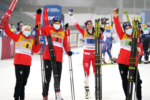 Norges vinnerlag under verdenscupstafetten i Lahti 2021. Foto: Thibaut/NordicFocus.