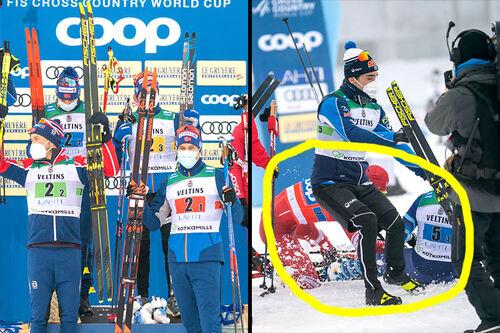 Til venstre den norske seierskvartetten i VC-stafetten i Lahti 2021. Til høyre ligger Alexander Bolshunov og Joni Mäki på bakken etter at førstnevnte taklet finnen i målgården. Foto: Thibaut/NordicFocus.