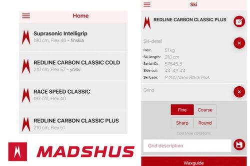 Noen skjermbilder fra Madshus sin nye app, empower 2.