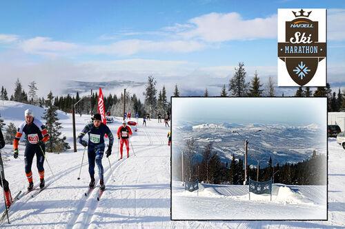 Hafjell Ski Marathon ved Mosetertoppen betyr stor stemning i løypene og blant annet skal løperne kjører over  store kamelpukler underveis i rennet (se det innfeldte bildet). Arrangørfoto. Collage: Langrenn.com.