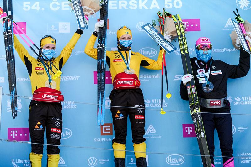 Damenes seierspall i Jizerska 2021, sesongens 4. renn i Ski Classics. FV: Ida Dahl (2. plass), Lina Korsgren (1) og Katerina Smutna (3). Foto: Tomáš Hejzlar / Jizerská 50.
