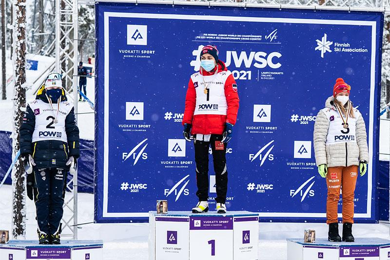 Damenes seierspall på 15 km fellesstart under Junior-VM Vuokatti 2021. FV: Lisa Eriksson (2. plass), Margrethe Bergane (1) og Helen Hoffmann (3). Foto: Tomi Mäkipää / Loru Creative.