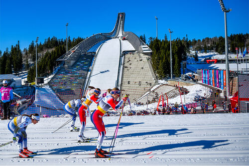 Astrid Uhrenholdt Jacobsen, Ingvild Flugstad Østberg og Charlotte Kalla under verdenscupen i Oslo og Holmenkollen. Foto: Thibaut/NordicFocus.