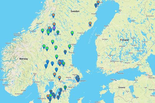Noen av destinasjonene, løypelagene og kommunene hos Längdspår.se.