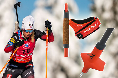 Tiril Eckhoff har sanket en rekke gullmedaljer med One Way sin nye stav, One Way Premio 30, under det pågående VM i skiskyting 2021 i Pokljuka. Foto Tiril: Thibaut/NordicFocus. Foto stavdeler: One Way. Bildecollage: Langrenn.com.