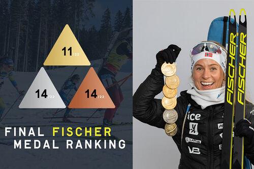 11 gull, 14 sølv og 14 bronse fordelt på 22 øvelser ble resultatet for Fischer-utøvere under VM i skiskyting i Pokljuka 2021. Grafikk: Fischer. Foto: Manzoni/NordicFocus.