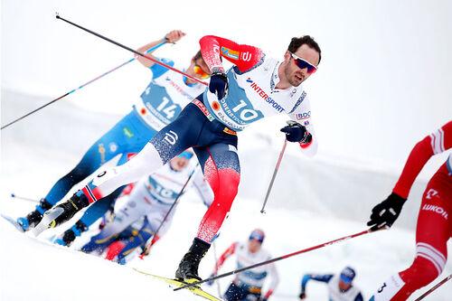 Hans Christer Holund på vei mot VM-bronse på 30 km skiathlon under verdensmesterskapet i Oberstdorf 2021. Foto: Modica/NordicFocus.