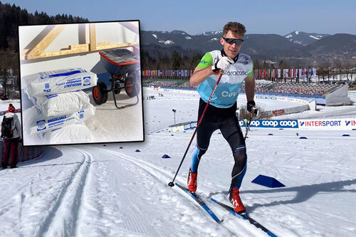 Under Ski-VM 2021 i Oberstdorf er salting et tema for å gjøre snøen fastere. Dette er noe racingpersonell som Swix sin Morten Sætha må ta høyde for i arbeidet med smøring og glid. Foto: Swix.