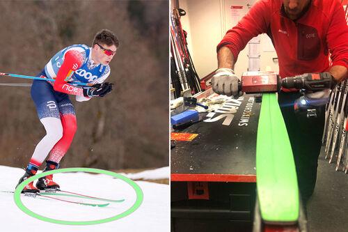 Harald Østberg Amundsen på vei mot bronsemedalje på 15 km fri under Oberstdorf-VM med sine nye ski fra Madshus med grønn såle. Til høyre prepper Sylvain Fanjas Claret fra Madshus grønnsåla. Foto Amundsen: Thibaut/NordicFocus. Foto Moen: Madshus.