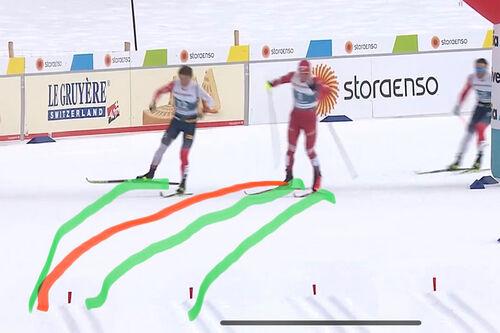 Klæbo og Bolshunov i svingen før oppløpet på 5-mila i Oberstdorf-VM 2021, rett før dramatikken startet. Til høyre i bildet Emil Iversen som ble kåret til vinner etter disk av Klæbo. Faksimile: NRK Sport / Grafikk: Rune Dønnestad.