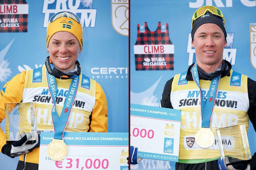 Lina Korsgren og Emil Persson med sine medaljer og premiesjekker som totalvinnere av langløpscupen Ski Classics 2020/2021. Foto: Magnus Östh / Visma Ski Classics.