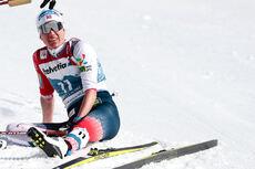 Heidi Weng puster ut etter å ha gått inn til VM-sølv under verdensmesterskapet i Oberstdorf 2021. Foto: Modica/NordicFocus.