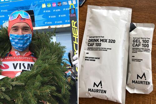 Andreas Nygaard og en av de tingene han inntok da han vant det 100 km lange Årefjällsloppet. Matpakkeproduktene er foto privat, mens bildet av Andreas er tatt av Ingeborg Scheve.
