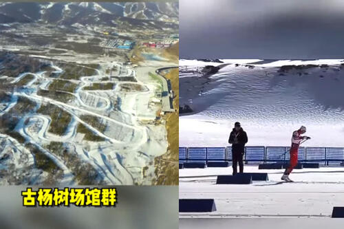 Noen av de første bilder fra området for skiøvelser under OL i Beijing 2022. Screen dump fra YouTube-kanalen Hominal Mirko.