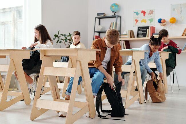 Bildet viser elever i et klasserom