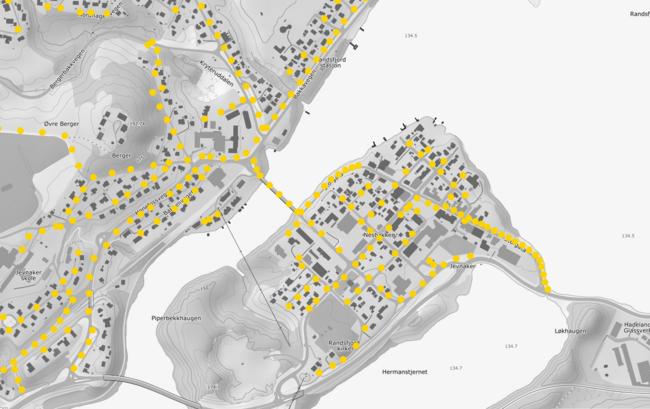 Bildet viser deler av et kart over Jevnaker