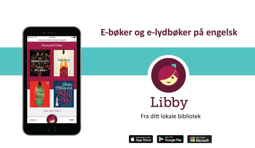 Bilde av mobiltelefon og logo for e-bokappen Libby