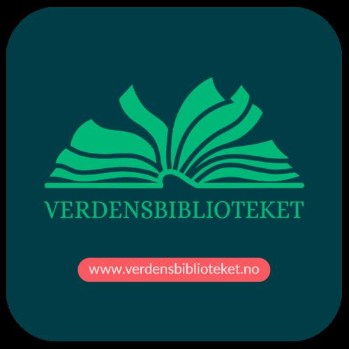 Logo for verdensbiblioteket, en e-boktjeneste på flere språk. Viser et stilisert bilde av ei oppslått bok i grønt på blå bakgrunn