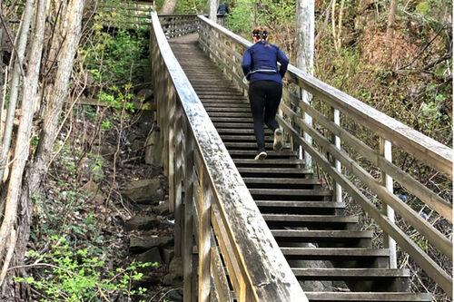 Den nederste del av den 147 trappetrinn lange Myrerskogtrappa på Kjelsås. Foto: Sigmund Hov Moen.