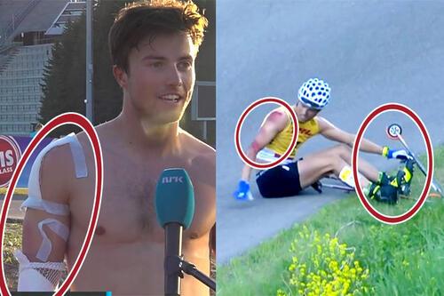 Håvard Moseby ble som bildene viser kraftig forslått da ski og binding løsnet under Holmenkollen Skishow 2021. Skjermdump: NRKs nett-TV. Collage: Langrenn.com.