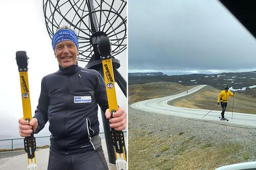 Ståle Samuelsen gikk i sommer fra Lindesnes til Norkapp på rulleski. Foto: Privat.