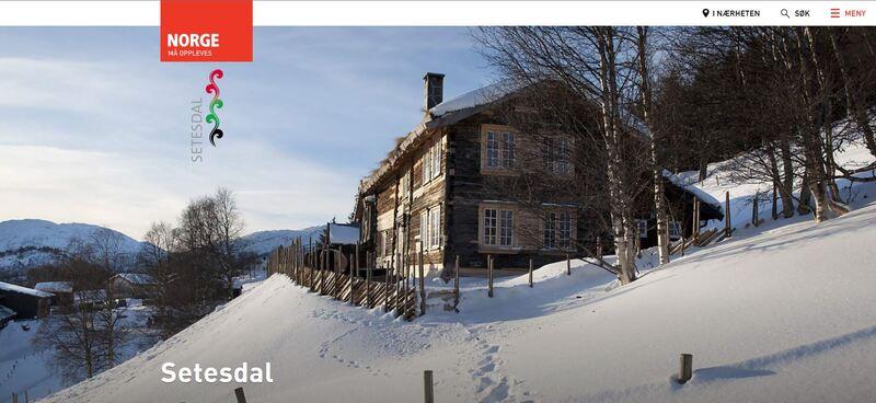 Skjermbilde av nettsiden til Visit Norway - Setesdal