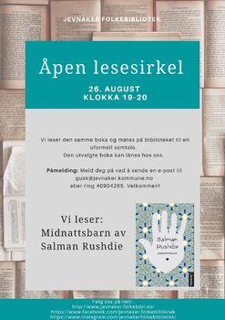 Plakat med info om åpen lesesirkel på biblioteket 26. august