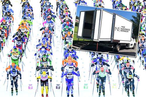 Smørebil fra Team Næringsbanken innfelt i et bilde fra starten til Vasaloppet 2021. Foto Vasan: Schmidt / NordicFocus. Collage: Langrenn.com.
