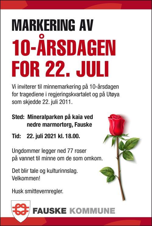 Markering 10-års jubileum 22. juli