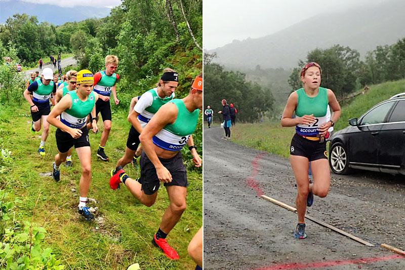 Henry Skjønsfjell i gul lue godt plassert i utløpet og Julie Hammer løper i mål. De begge tok hver sin seier i Årbostadtinden Rundt 2021. Foto: Rune Tøllefsen og arrangørene.