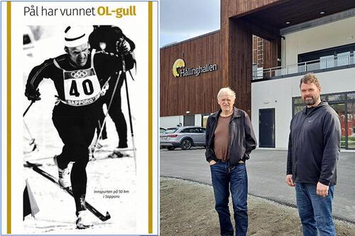 Pål Tyldum og kunstneren Errol Fyrileiv, opprinnelig fra Namsos. Han har laget statuene av Åge Aleksandersen og Nils Arne Eggen. Det garanterer et godt resultat! Til venstre Pål i karakteristisk stil i innspurten på 5-mila i Sapporo-OL 1972.