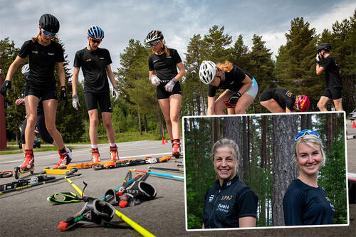 Astrid Uhrenholdt Jacobsen og Gina Flugstad Øistuen innfelt i bildet fra XPND Samling 2021. Foto: Heidi Fauske / Team XPND Fuel of Norway.
