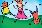 Tegning av lekende barn