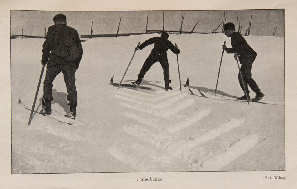 Fritz Huitfeldt og kamerater demonstrerer korrekt teknikk. Fra boken Skiløbning i text og billeder 1908.