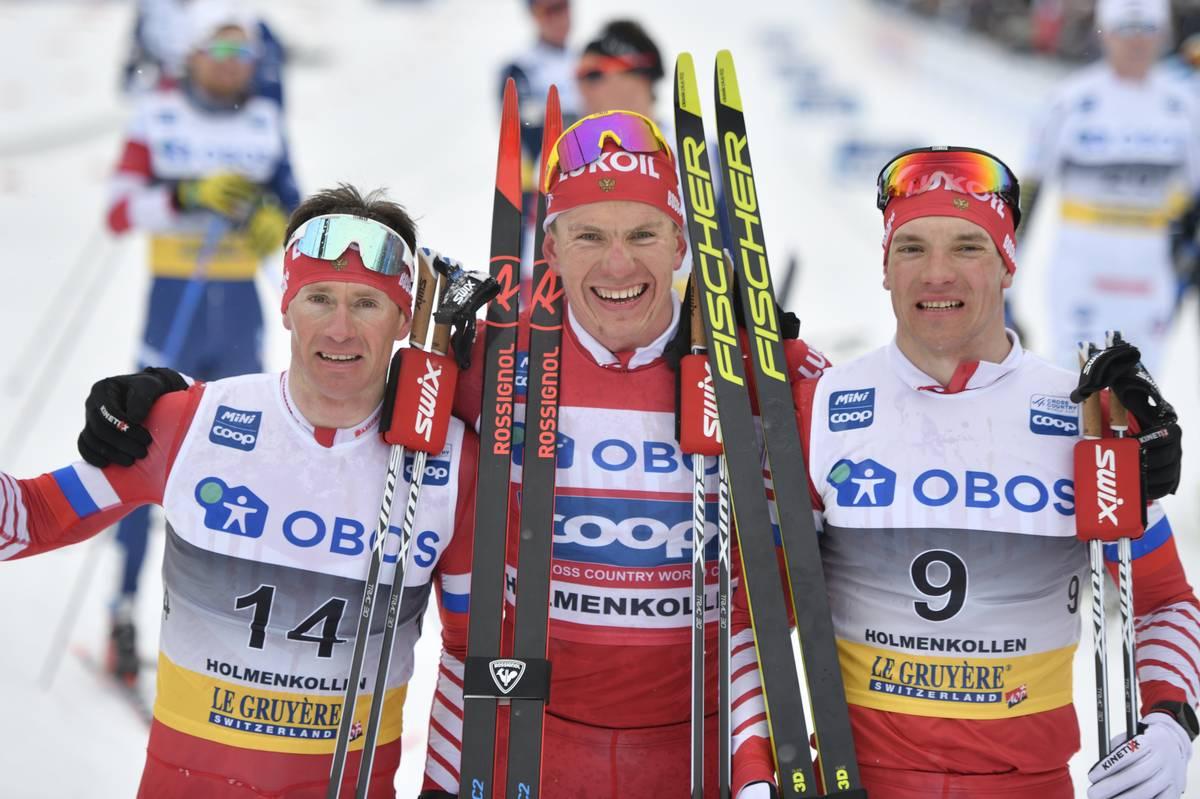 Maxime Vylegzhanin, Aleksander Bolshunov og Andrey Larkov tok tredobbelt under 5-mila i Holmenkollen 2019. Foto: Thibaut/NordicFocus.