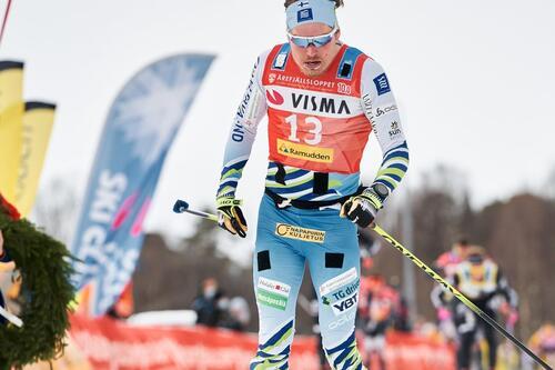 Ari Luusua går inn til tredjeplass i vinterens Årefjellslopp. Foto: Magnus Ôsth/Visma Ski Classics