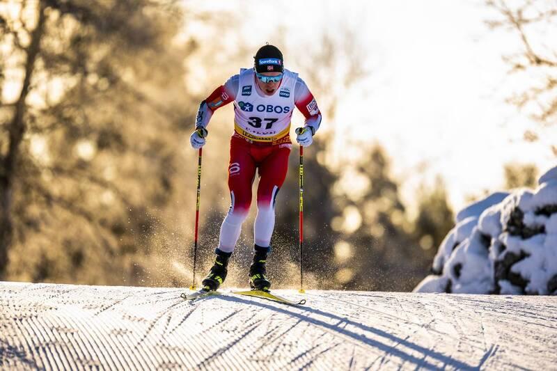 Martin Løwstrøm Nyenget fra verdenscupen i Falun i vinter. Foto: Thibaut/NordicFocus.