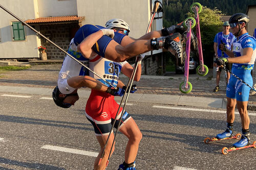 Amund Korsaet og Ragnar Bragvin Andresen tok sølv i team sprint vm rulleski. Foto: Privat