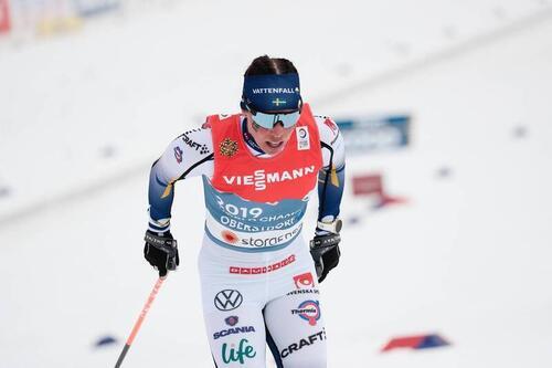 Charlotte Kalla under vinterens VM i Oberstdorf. Foto: Modica/NordicFocus.