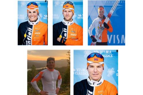 Deler av Team Synnfjell 2021/22. Magdalena Maierhofer, Terje Sveum, Pål Åge Joten, Jonathan Hedbys og Sigurd Hulbak