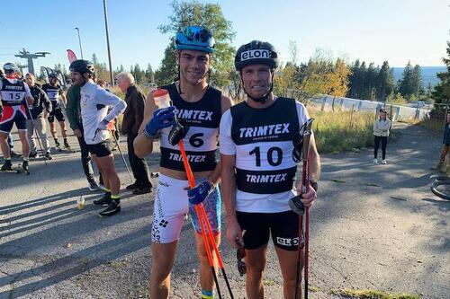 Thomas Helland Larsen (til venstre) og Gaute Kvåle under Ragde Charge opp Tryvann. Foto: Øyvind Moen Fjeld