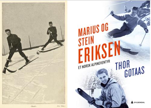 Skifamilie. (Venstre). I 1907 ble den da 20 år gamle Marius Eriksen (senior) fra Skien tilkalt av legenden Fritz Huitfeldt i Kristiania for å være modell til fotografiene i Huitfeldts lærebok om skiløping. Her demonstrerer de ploging. Eriksen ble senere far til alpinistene Marius og Stein.