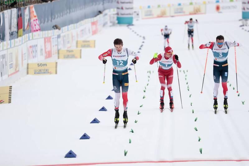 07.03.2021, Oberstdorf, Germany (GER):Johannes Hoesflot Klaebo (NOR), Alexander Bolshunov (RSF), Emil Iversen (NOR), (l-r)  - FIS nordic world ski championships cross-country, 50km men, Oberstdorf (GER). www.nordicfocus.com. © Modica/NordicFocus. Every