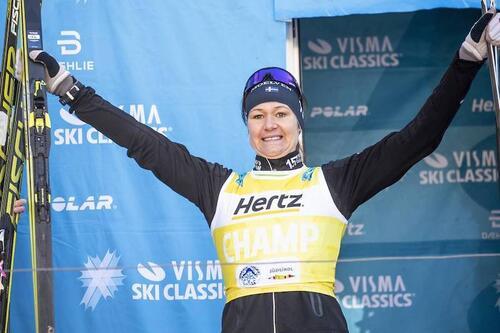 Britta Johansson Norgren skal tilbake i den gule sammenluagttrøya i Visma Ski Classics. Foto: Modica/NordicFocus