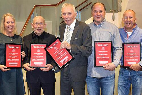 Årets ildsjeler 2021: Tove Nyborg, Jan Erik Reinås, Odd Martinsen, Øistein Formo og Erik Christoffersen. Foto: NSF